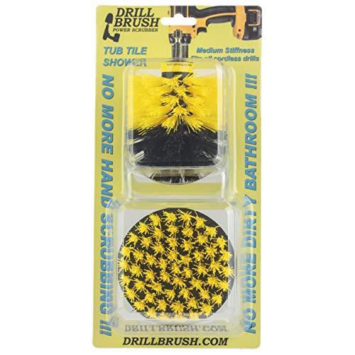 Drillbrush クイックチェンジシャフトシャワー、浴槽、タイルパワースクラバーブラシ すべての目的中期黄色