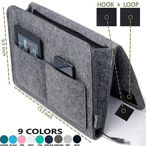 "Bedside Caddy Original Design | Large Size 9.5"" x 13.5"" inch (Dark Gray) Laptop Holder | Dorm College Room, Bunk Bed, Hospital Bed, Kids | Night Hanging Storage Organizer Magazine | Remote Holder"