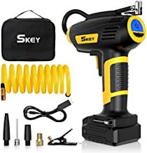 SKEY Tire Inflator,Portable Handheld Air Compressor with Rechargeable Battery,Cordless Tire Inflator for Car,Motorbike,Bike and Inflatables