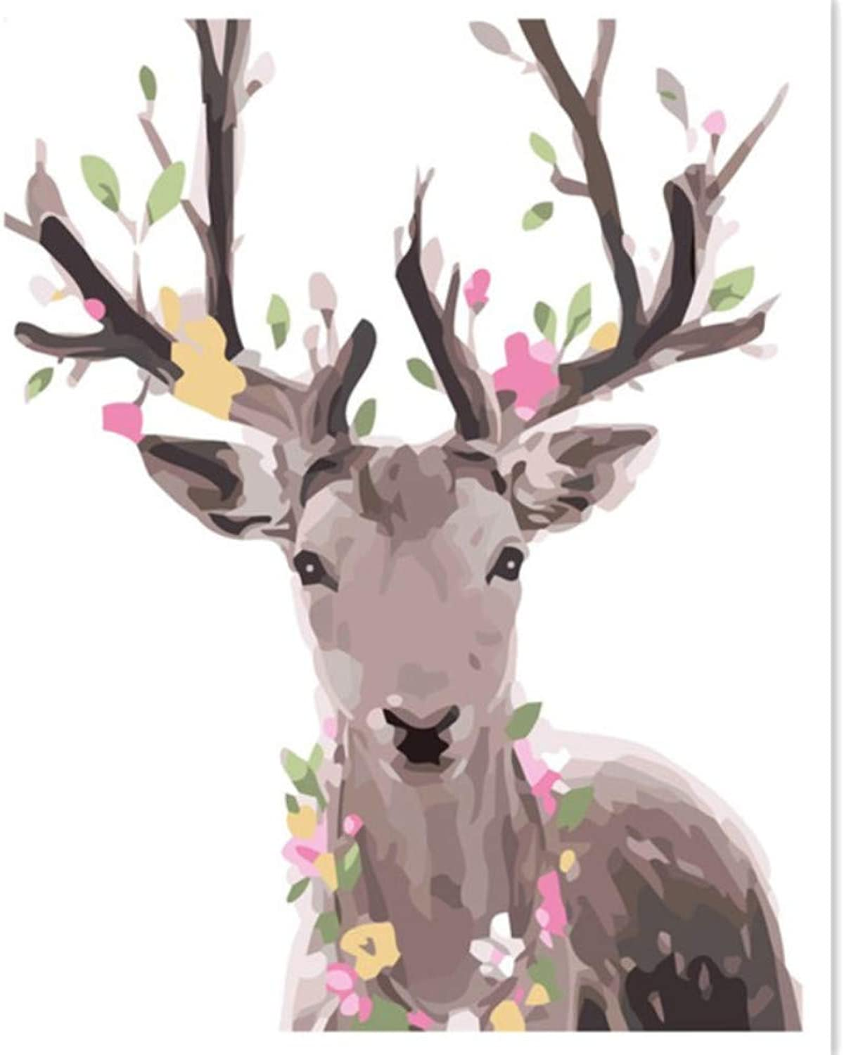 Deer Pictures DIY Painting by Numbers Kits Cotton Painting Paint On Cotton Unique Gift Home Decor Wall Artwork 50x60CM