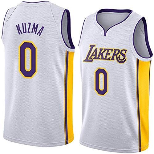 Kuzma Lakers # 0 Camisetas de Baloncesto para Hombres, Jerseys Vintage Bordado Malla Swing swingball Jerseys Juventud Limpieza repetible (Color : White, Size : X-Large)