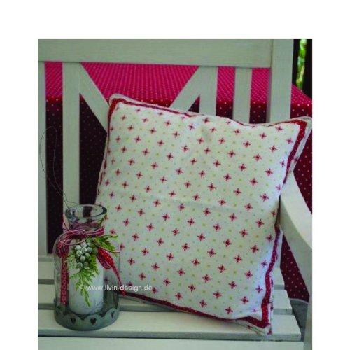 Housse de coussin motif de flocon de neige blanc/rouge 40 x 40 cm