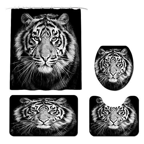 Juego de cortinas de ducha con diseño de tigre en blanco y negro con alfombras antideslizantes, cubierta para tapa de inodoro y alfombrilla de baño con 12 ganchos