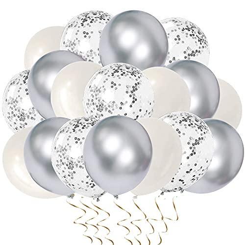 Metallic Silber Luftballons Helium Ballons Silber Konfetti Ballons 52 Stück für Hochzeit und Geburtstag, Halloween Weihnachten Deko,Baby-Duschen,Graduierung, Valentinstag, Jubiläum Party Dekoration
