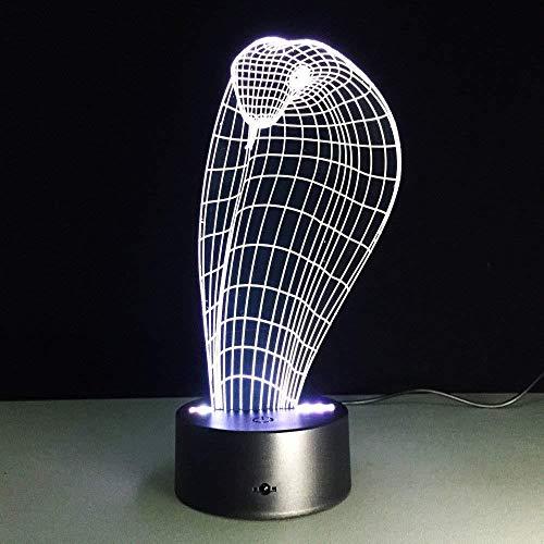lámpara de ilusión 3D LED Luces nocturnas Snake cobra decoración del hogar y para codormir Con interfaz USB, cambio de color colorido