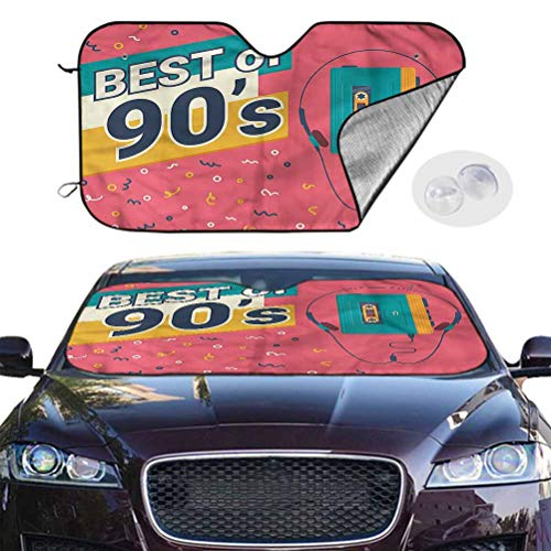TableCoversHome Windshield Sun Shade Visor 90s Accordion Sunshade Best of 90s Cassette Player, 28 x 50 Inch, Auto Parts