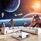 3D Papel Tapiz Póster Fotográfico Pintura De Pared Cielo Estrellado Universo Astronauta Planeta Mural para Habitación De Niños Sala De Estar Dormitorio Decoración-350cmx256cm(LxA)