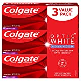 Colgate Optic White Advanced Teeth Whitening Toothpaste, Vibrant Clean - 3.2 Ounce (3 Pack)