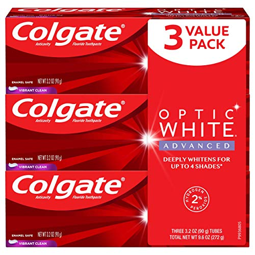 Colgate Colgate optic white advanced teeth whitening toothpaste, vibrant clean - 3.2 ounce (3 pack), 3.2 Ounce