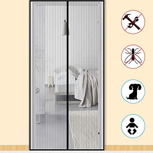 Zalava Fliegengitter Tür Fliegengitter Balkontür insektenschutz tür für Tür Balkontür Wohnzimmer Terrassentür 100x210 cm/110x220 cm /120x240cm/160x230cm, Klebmontage ohne Bohren (120x240cm, Schwarz)