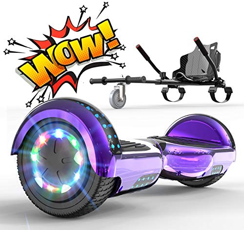 RCB Hoverboard mit Sitz Hoverkart komplett für Kinder, Elektro Skateboard mit Set, Elektroroller mit Bluetooth und LED-Lichtern, Spielzeug für Jugendliche