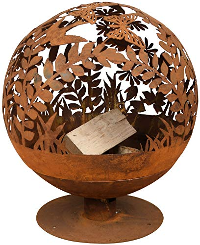 Esschert Design Fallen Fruits Oxidised Woodland Globe Speher, (Ø 57 cm), Fire Pit Basket Bowl Cast Iron (Basket Bowl 'Flowers')