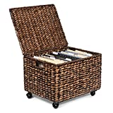 BIRDROCK HOME Rolling File Cabinet - Storage Organizer Box with Lid - Home Office Decor - Decorative Organize - Letter Legal Hanging Filing Container - Strong Durable Toy Pillow (Brown Wash)