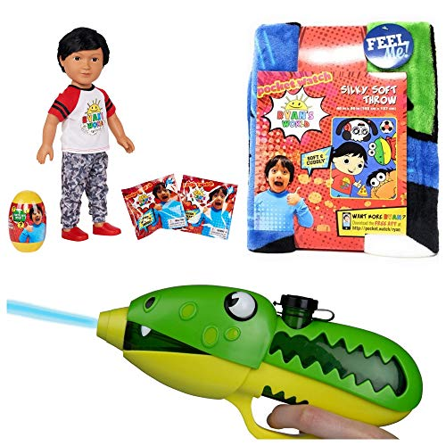 JGT Kids Boys Girls Indoor My Life Doll Christmas Value Pack (Bonus: Grow Creature) (1) Ryan's Ryan Ryans World My Life 18' Doll (1) Silky Soft Throw 40'x50 (1) Gus Slime Blaster ~ Bundle of 4