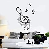 FFVVE notas musicales calcomanía de pared canción cantando Piano clave Mural arte dormitorio sala de música concierto decoración vinilo pared pegatina 42X61Cm