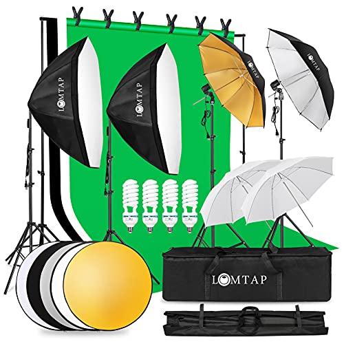 LOMTAP プロな写真撮影照明キット 50*70cmソフトボックス85W 5500K電球E26 背景スタンド 背景布(白、黒、...