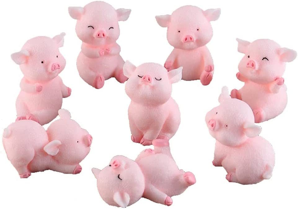Morofme 8pcs Miniature Pig Figurines, Pig Cake Topper Cupcake topper, Pig Cerdo Characters Mini Toy, Pig Cake Decorations for Kids Birthday Baby Shower Pig Theme Party Supplies