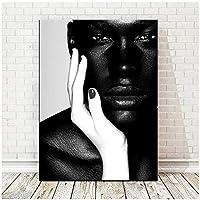アフリカ系アメリカ人ブラックホワイトヌードアフリカンアートマン油絵キャンバスポスタープリントスカンジナビアの壁アート写真リビングルームの装飾40x60cm(16x24in)
