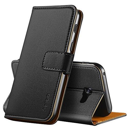 Anjoo Hülle Kompatibel für Samsung Galaxy A5 2017, Handyhülle Tasche Premium Leder Flip Wallet Case Kompatibel für Galaxy A5 2017 [Standfunktion/Kartenfächern/Magnetic Closure Snap], Schwarz