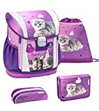 Belmil Ergonomischer Schulranzen Set 4 - teilig Größen verstellbar Mädchen 1. 2. 3. 4. klasse - gepolsterter Hüftgurt und Brustgurt/Katze/Lila, Purple (404-20 Little Caty)