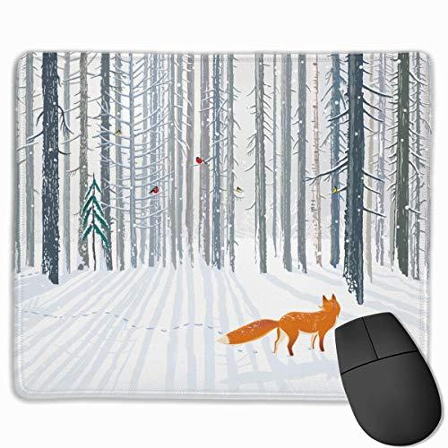 Gaming Mouse Pad, personalisierte benutzerdefinierte Maus Padnon-Slip Gummi Gaming Mouse Pad, bleiben Sie positiv, arbeiten Sie hart und lassen Sie es passieren Tier Winter Ein Fuchs im Wald Vogel auf