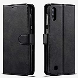 STARSHOP- Samsung Galaxy A01 Phone Case, Included [Tempered Glass Screen Protector], Premium Leather Wallet Pocket Cover and Credit Card Slots – Black