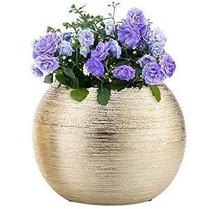 Silk Flower Arrangements 7-Inch Round Modern Gold-Tone Metallic Ceramic Plant Flower Planter Pot, Decorative Bowl Vase