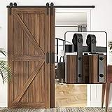 Herraje para Puerta Corredera Kit 5FT-13FT Kit de herrajes para puertas corredizas de granero de derivación, riel único, uso de puertas de madera dobles, rodillo silenciador de riel plano, techo bajo