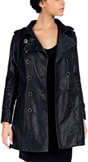 DISSA PWA17 Women Faux Leather Long Coat Slim Coat Leather Jacket