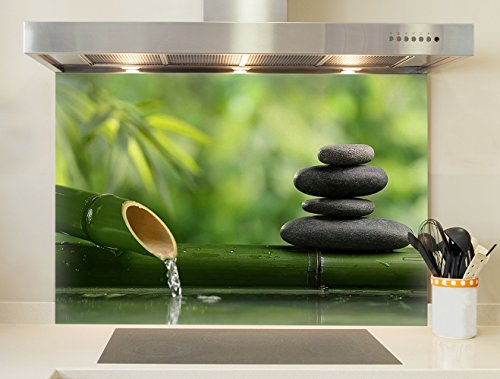 Credence, Boden für Dunstabzugshaube Kieselsteine & Bambus 2 75 X 60cm (LxH) Verre Acrylique (Rendu Brillant)