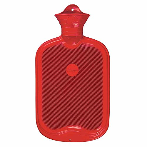 Gummi-Wärmflasche, Halblamelle, 2l, rot