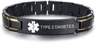 Free Custom Engraving-Unisex 2 Tone Brushed Stainless Steel Emergency Medical Alert ID Adjustable Bracelet Wristband