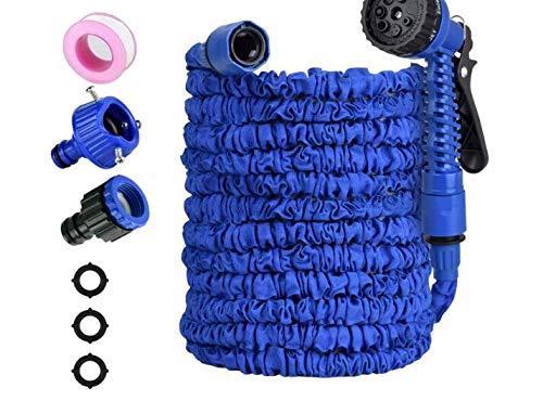 Ovareo Flexibler Gartenschlauch Blau,100FT 30M Flexibler Gartenschlauch Wasserschlauch dehnbar Flexi Wonder mit Mehrere Funktion Garten Handbrause FlexiSchlauch für Reinigung Gartenarbeit