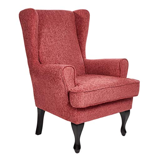 Morris Living Paris Fireside Chair in Pomegranate Fabric - 21.5' Height - Orthopedic Chair