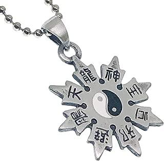 Kung Fu Yin Yang Bagua Shuriken Ninja Trowing Star Pewter Men Pendant Necklace w Silver Ball chain