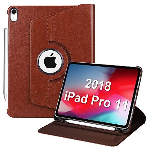 """Fintie Hülle mit Pencil Halter für iPad Pro 11\"""" 2018 (Kompatibel mit Pencil 2. Gen, kabelloser Ladefunktiont) - 360 Grad verstellbare Schutzhülle mit Standfunktion, Auto Sleep/Wake, Sattelbraun"""