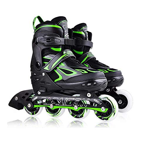 MRFYD Jungen Mädchen Einstellbar Inline Skates für Kinder und Anfänger Erwachsene Mit Leichten Rädern Roller Blade Stiefel Innen Im Freien Rollschuhen Grün_L (38-43Ru; 6-8.5Uk)