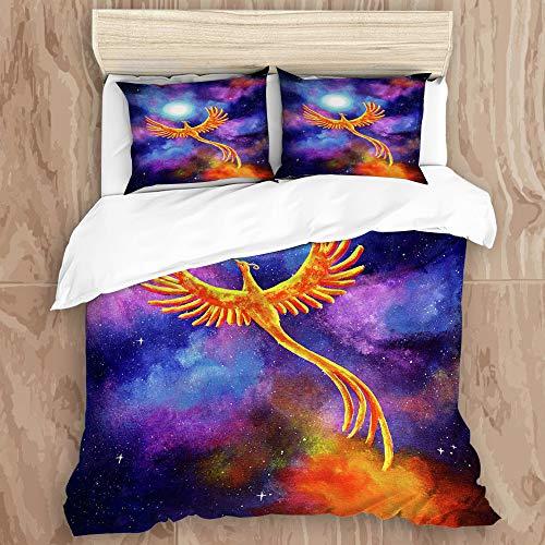 AIMILUX Bettwäsche Set Mikrofaser,Fantasie Vogel Phoenix Laura milnor Iverson Phoenix aufgehende Firebird mondnacht Sterne kosmisch,1 Bettbezug 200x200cm mit + 2xKissenbezüge 50x80cm