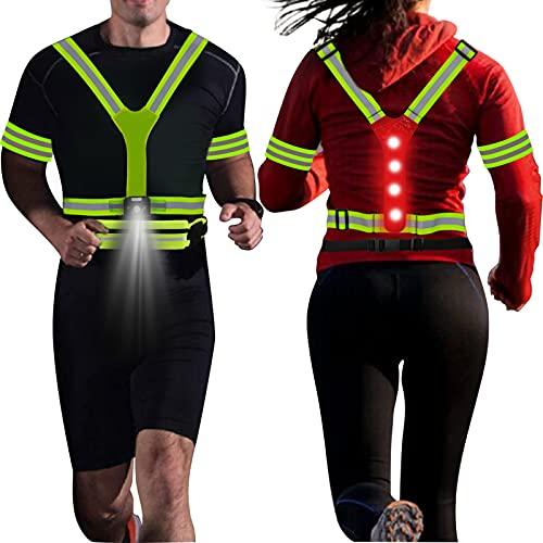 rnairni Lighting LED Reflective Vest Running Light Set, Adjustable Safety Vest, Gear Armbands, Belt Bag with Earphone Hole for Night Running, Motorcycle, Walking, Cycling and Dog Walking Sports