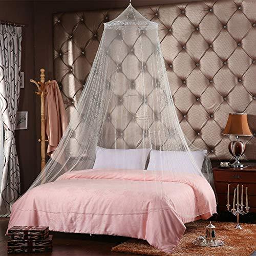 W-shufang, Elegantes Moskitonetz für Doppelbett Vorhänge Baumwolle Baldachin Runde Spitze Insektennetz Netting Dome Polyester Bett Zelt