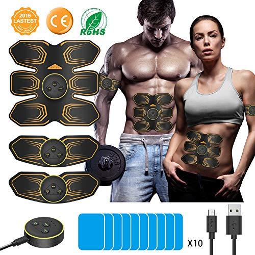 ANLAN EMS Bauchmuskeltrainer Elektronische Muskelstimulation Muskelstimulator USB Wiederaufladbar Elektromuskelstimulation Trainingsgerät für Herren Damen zur Muskelaufbau