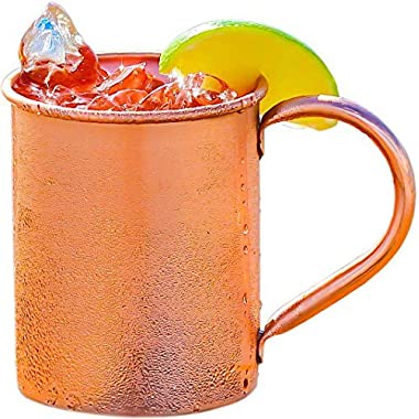 100% Copper Mug for Moscow Mule - Solid Smooth Pure Copper 16oz