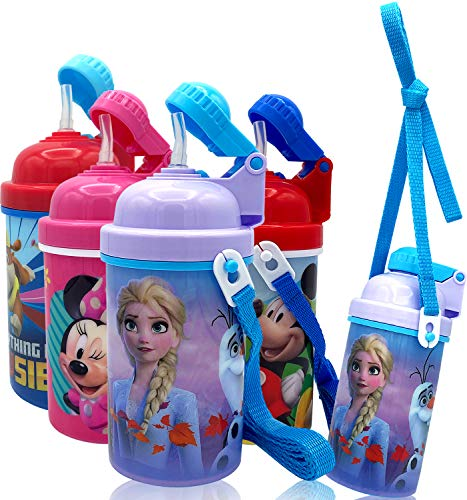 Disney Frozen Deluxe Carrying Strap One Touch Water Bottles with Reusable Built in Straw