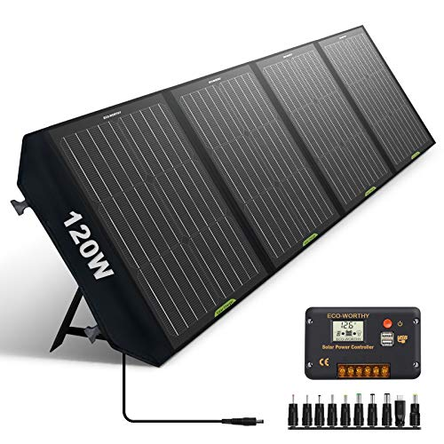 ECO-WORTHY 120W Foldable Solar Panel Charger for Portable Power Station & RV Battery, Compatible with Jackery/Roackpals Generator, with 20A Controller for 12V Deep Cycle Battery RV Camping