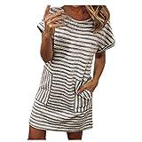 Longra 2019 Vestiti Camicia Donna Abito A Righe Scollo A V Manica Corta Tubini Donna Eleganti con Cintura Camicia Estiva A Maniche Corte Camicetta Casual con Tasca