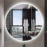 HZWLF Espejo de vanidad Montado en la Pared Espejo de Maquillaje Led Inteligente antiniebla Baño Espejo de Belleza Redondo Espejo de baño sin Marco Espejo Simple