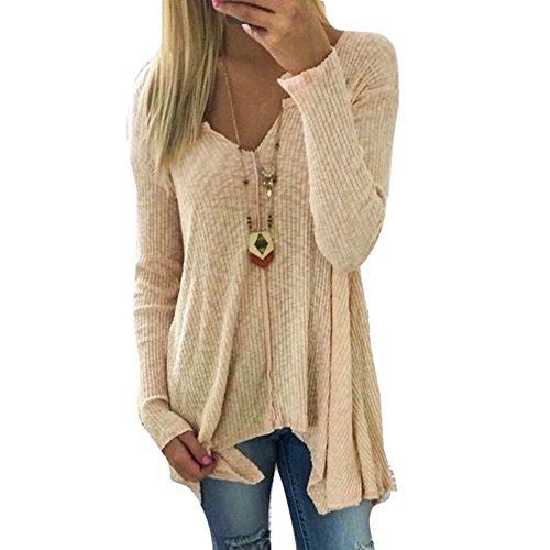 hibote Damen Pullover V-Ausschnitt Sweater - Frauen Oberteile Langarm Shirt Jumper Strickpullover Unregelmäßiger Tops Strickpulli Herbst und Winter Sweatshirt (M, Khaki)