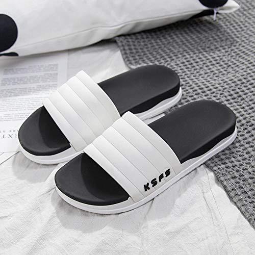 Interior al Aire Libre Verano Zapatillas,Resumen Inglés Slippers Summer, Baño Zapatillas para el hogar-Blanco de Tres Barras_40-41,Zapatillas de baño Unisex