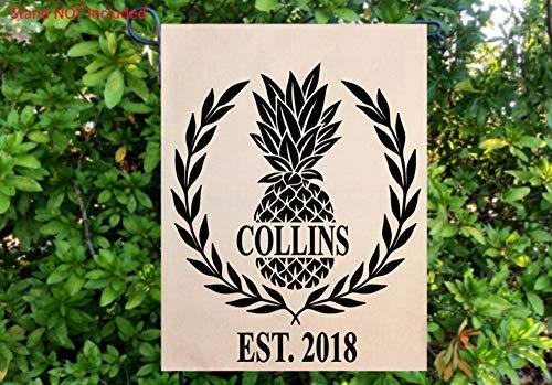 Bandera de jardín de piña personalizada, nombre de familia, bandera de jardín de verano, decoración del hogar, bandera de patio, decoración de piña, banderas de jardín durante todo el año.