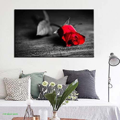 NIMCG Flores Carteles e Impresiones Arte de la Pared Pintura de la Lona Rosa roja Imágenes para la Sala de Estar Decoración del hogar de la Pared (sin Marco) 30x45 cm